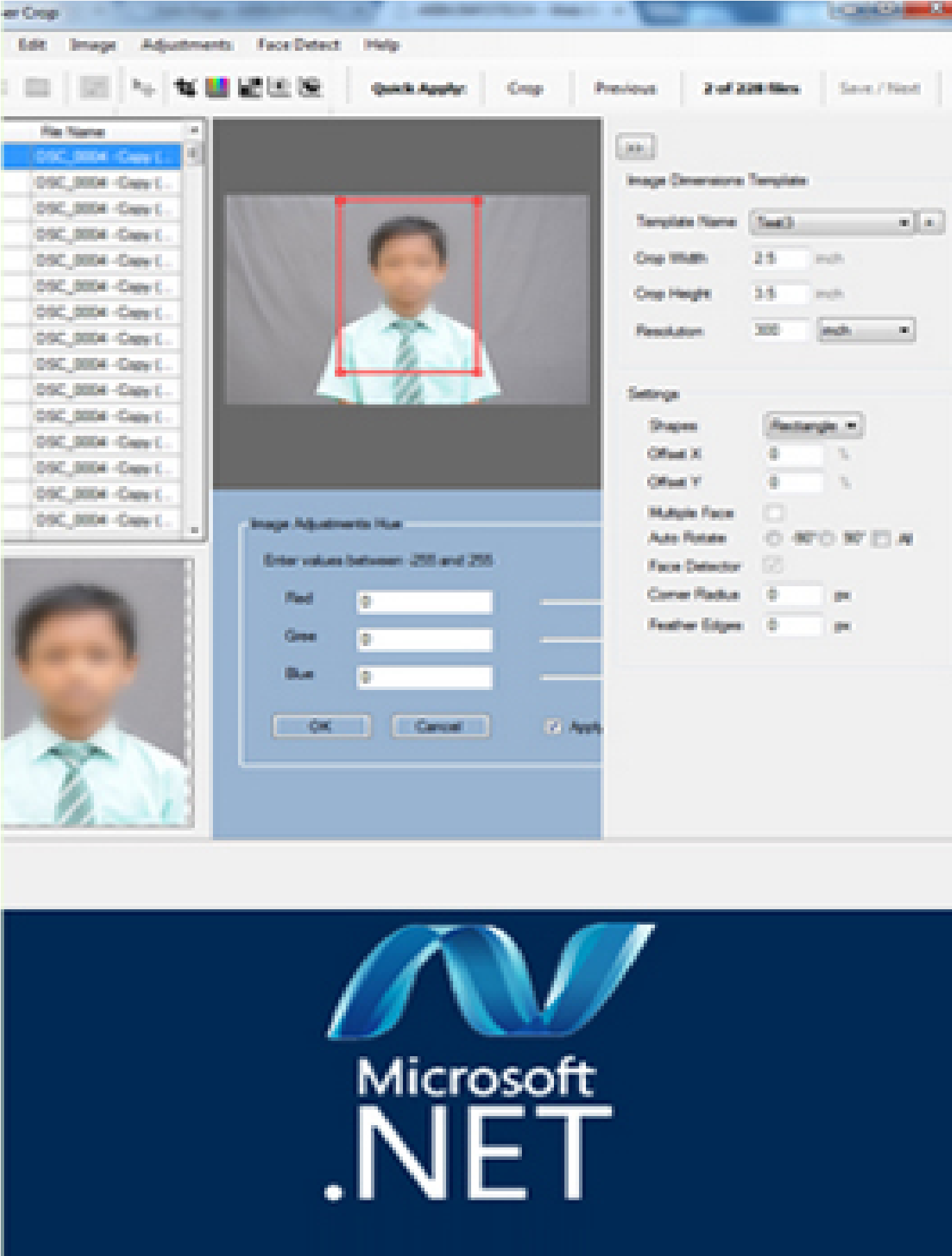 Id Card Photo Cutting Software with Face Detector developed by Arin Infotech, Tambaram Chennai, Software Developed in .Net